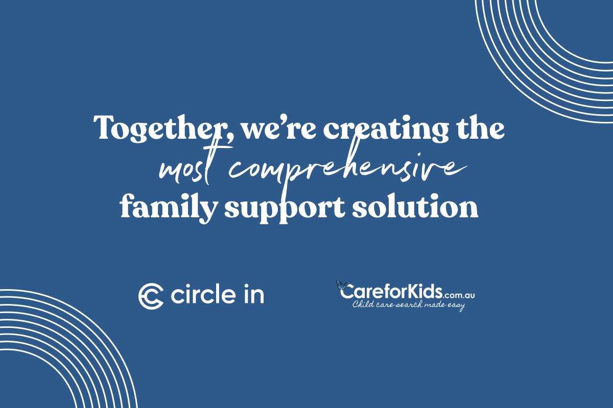 """Graphic with text that says """"Together, we're creating the most comprehensive family support solution"""""""